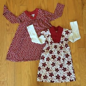 Lot of 2 Tea Collection Red Floral Dresses Sz 5